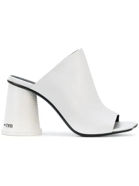 272c95969426 Mm6 Maison Margiela Mm6 Maison Martin Margiela White Leather High Heel  Slide Sandals In 961 White