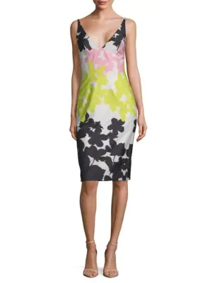 Milly Floral-Stripe Strapless Sheath Dress In Pink Multi