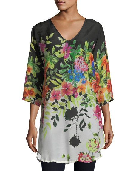 fd303d7706b Johnny Was Plus Size Betty Floral-Print V-Neck Top In Black | ModeSens
