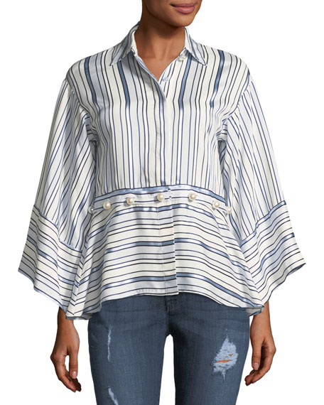 a7008c6591a8eb Alexis Adette Striped Bell-Sleeve Top W  Removable Hem In Blue ...