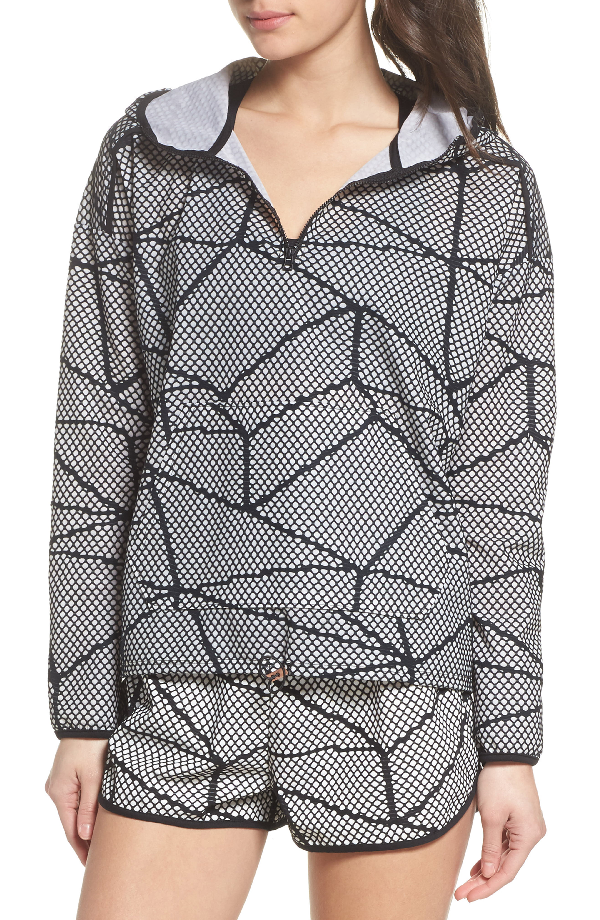 Beyond Yoga Chromatic Hoodie Pullover In Black-white Chromatic