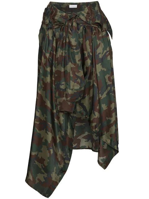 Faith Connexion Silk Camouflage Skirt With Waist Tie In Green
