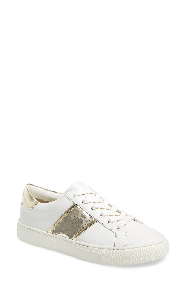 52dc18829 Tory Burch Carter Lace-Up Low-Top Sneaker In Snow White  Spark Gold ...
