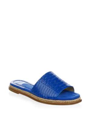 Alexandre Birman Shelby Leather Slide Sandal In Sapphire