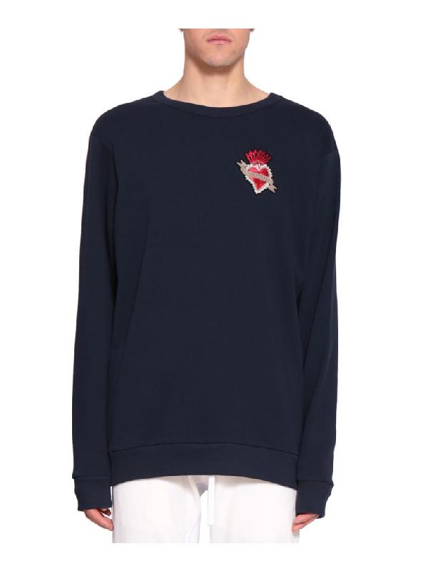 Amen Embroidered Cotton Sweatshirt In Nero