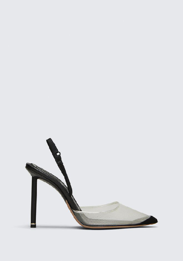 f29e4486e77 Alexander Wang Alix Suede And Leather-Trimmed Mesh Slingback Pumps In Black