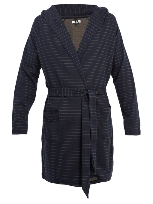Hooded Striped Cotton And Cashmere-Blend Robe in Navy