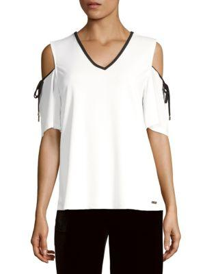 Calvin Klein Cold Shoulder Top In Soft White