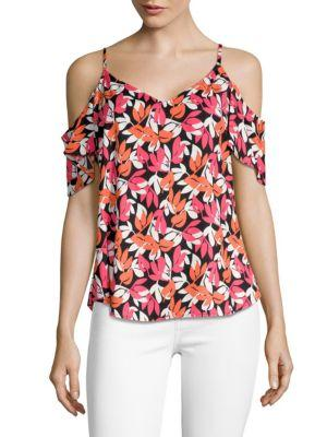 Calvin Klein Cold Shoulder Top In Watermelon Multi