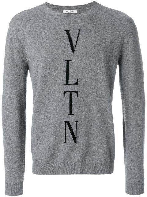 74a98793a0fbd Valentino Vltn Intarsia Sweater - Grey | ModeSens