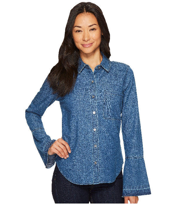 7 For All Mankind Bell Sleeve Denim Shirt In Pico Blue, Pico Blue