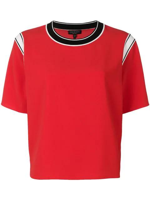 18825490 Rag & Bone Mica Contrast Trim T-Shirt In Red | ModeSens