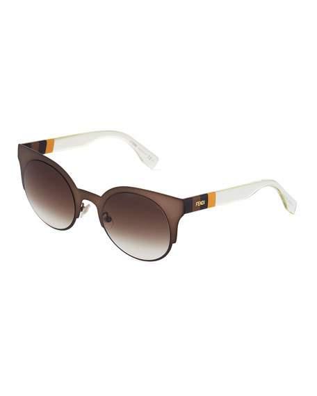 517a53c1a844 Fendi Round Cat-Eye Metal Sunglasses In Brown