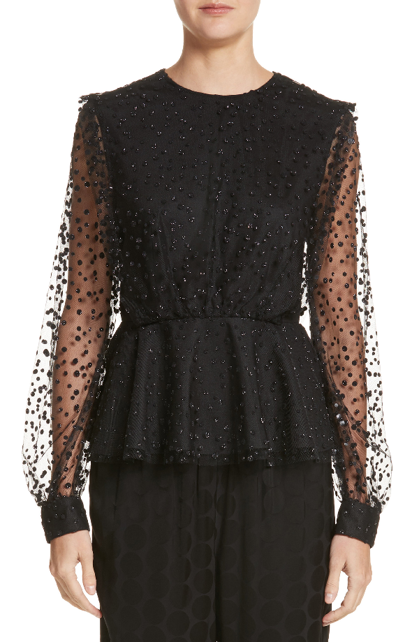 1f70bc920d250 Co Long-Sleeve Dotted Tulle Peplum Blouse In Black