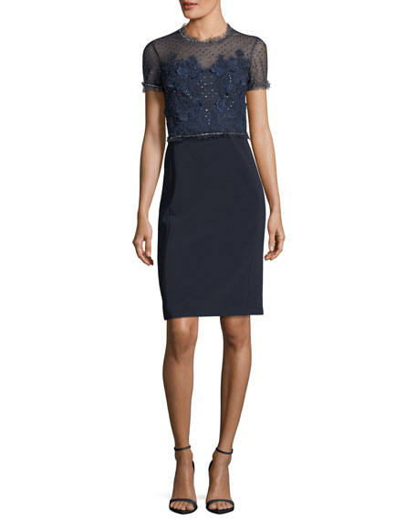Jenny Packham Round-Neck Short-Sleeve Lace Cocktail Dress In Dark Blue