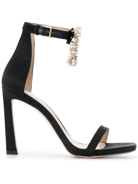 Stuart Weitzman Women's 100Fringesquarenudist Satin Embellished High-Heel Ankle Strap Sandals In Black