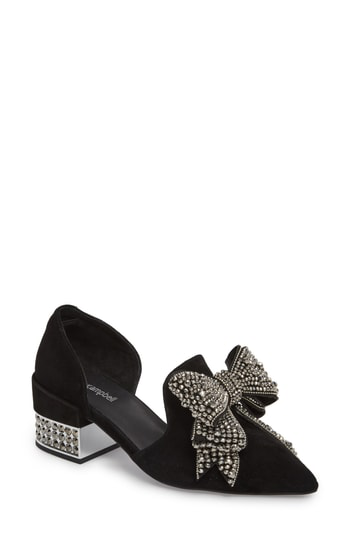 4424ae6d2cc Jeffrey Campbell Valenti Embellished Bow Loafer In Black Multi Tweed ...