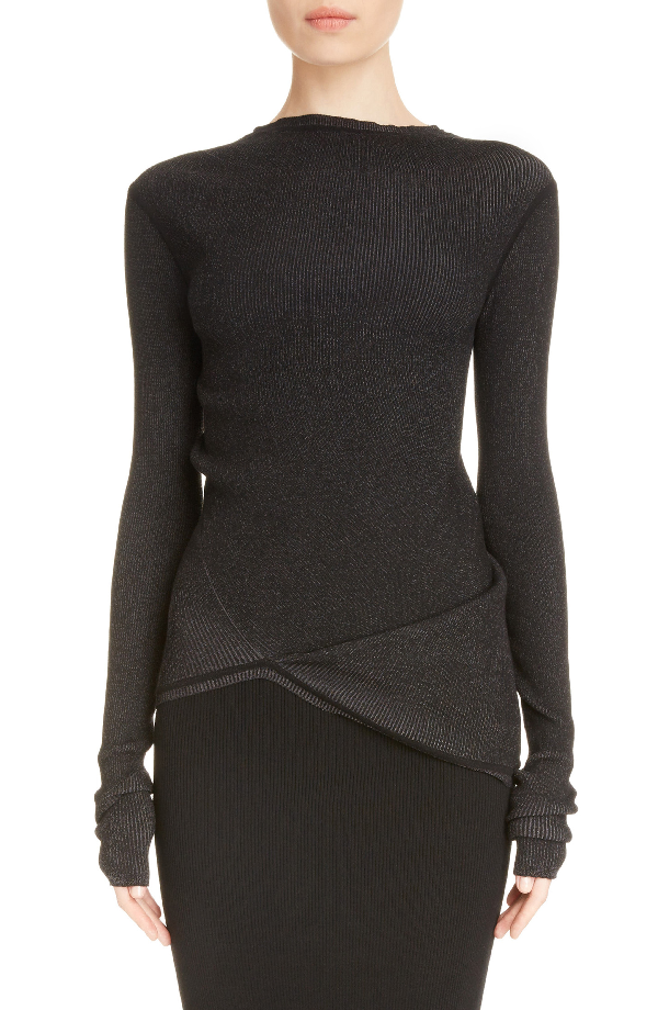 Rick Owens Stretch Knit Top In Faded Black