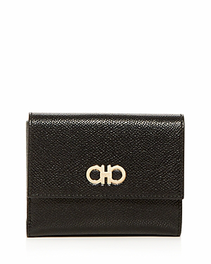 Salvatore Ferragamo Leather French Wallet In Nero Black/Silver
