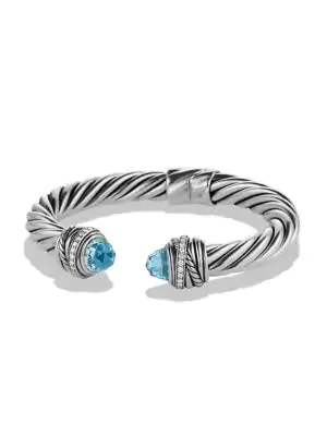 David Yurman Crossover Bracelet With Blue Topaz & Diamonds