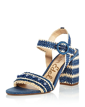 1a5b503d9a Sam Edelman Women's Olisa Raffia Block Heel Ankle Strap Sandals In Blue