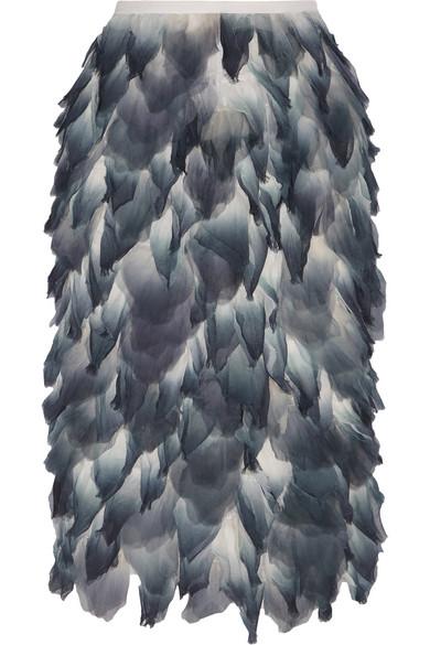 Burberry Woman Layered Printed Silk-chiffon Midi Skirt Storm Blue