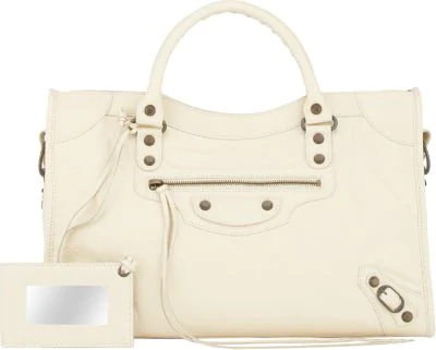 Balenciaga Arena Leather Classic City Bag In Open Beige