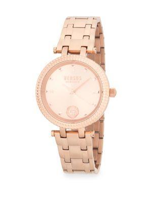 Versace Logo Stainless Steel Bracelet Watch In Rose Gold