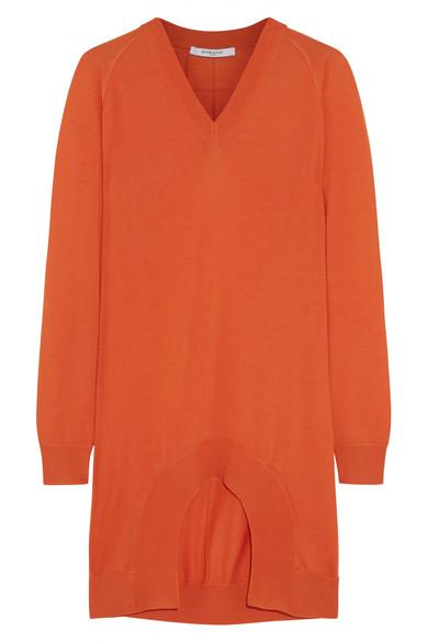 Givenchy Woman Cutout Cashmere, Wool And Silk-blend Sweater Orange