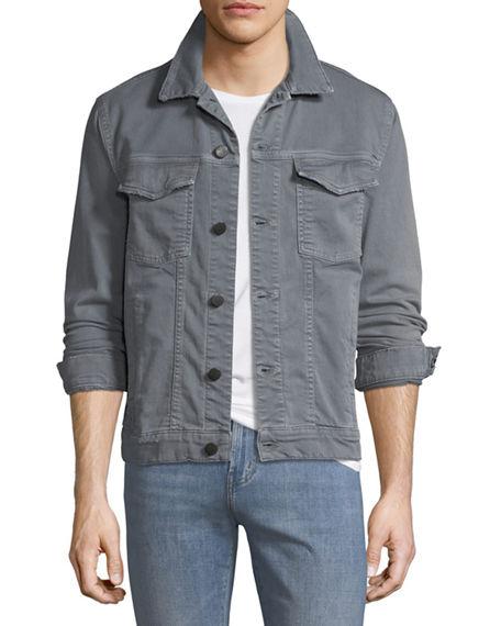 J Brand Gorn Point Collar Denim Jacket In Distressed Gypsum