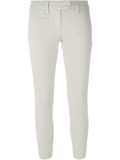 Dondup 'aslan' Cropped Trousers In Bianco