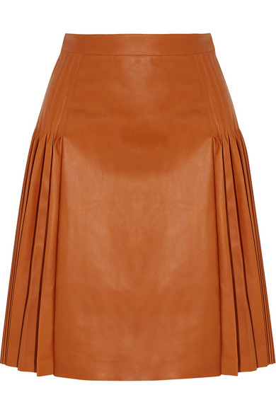 Givenchy Woman Pleated Leather Skirt Light Brown