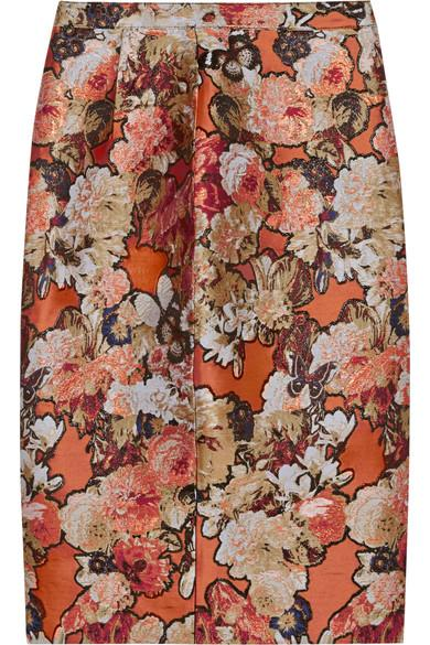 Givenchy Woman Skirt In Metallic Floral-jacquard Brick