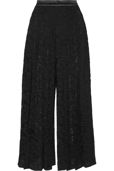 Givenchy Pleated Lace Culottes In Black