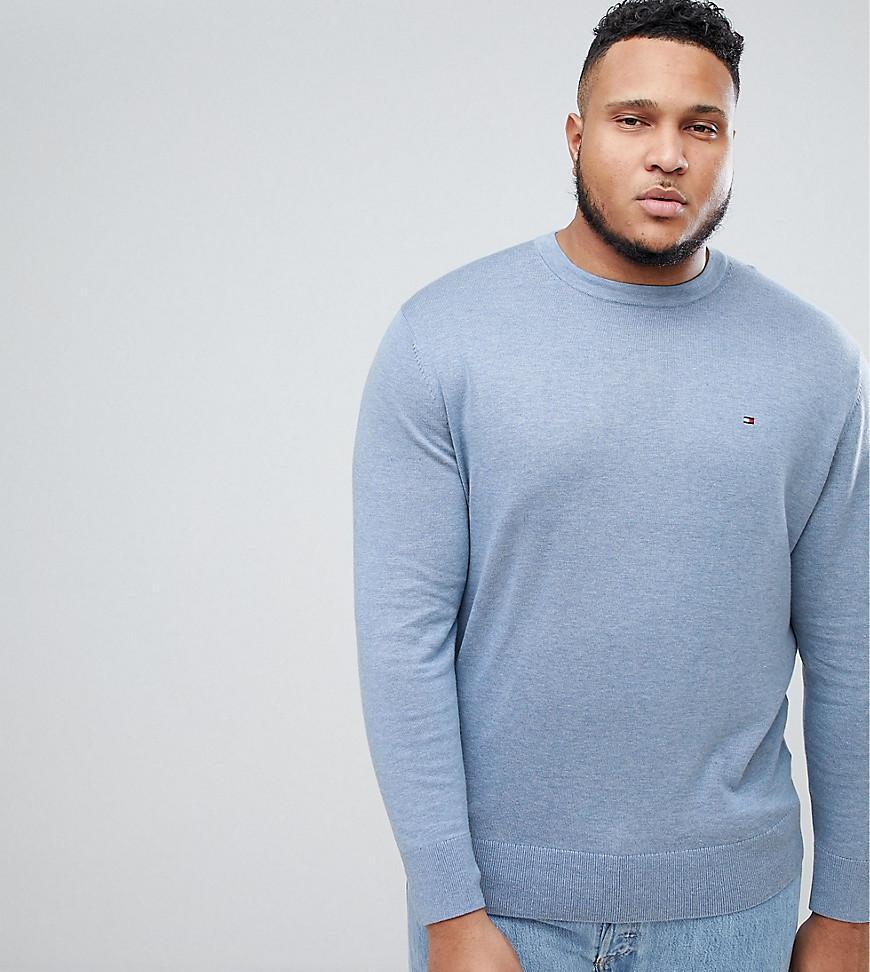 4a0f35d1 Tommy Hilfiger Big & Tall Flag Logo Knit Sweater Plaited Cotton Silk In  Blue - Blue