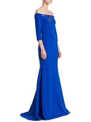 Theia Beaded Off-the-shoulder Trumpet Gown In Cobalt