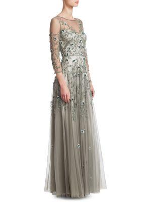 Theia Tulle Embellished Gown In Sea Glass