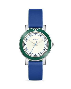 Tory Burch Ellsworth Stainless Steel Leather-strap Watch In Blue/ Cream/ Silver