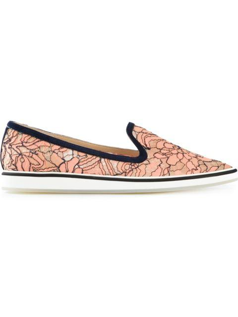Nicholas Kirkwood Floral Lace Slip-On Shoes In Apricot