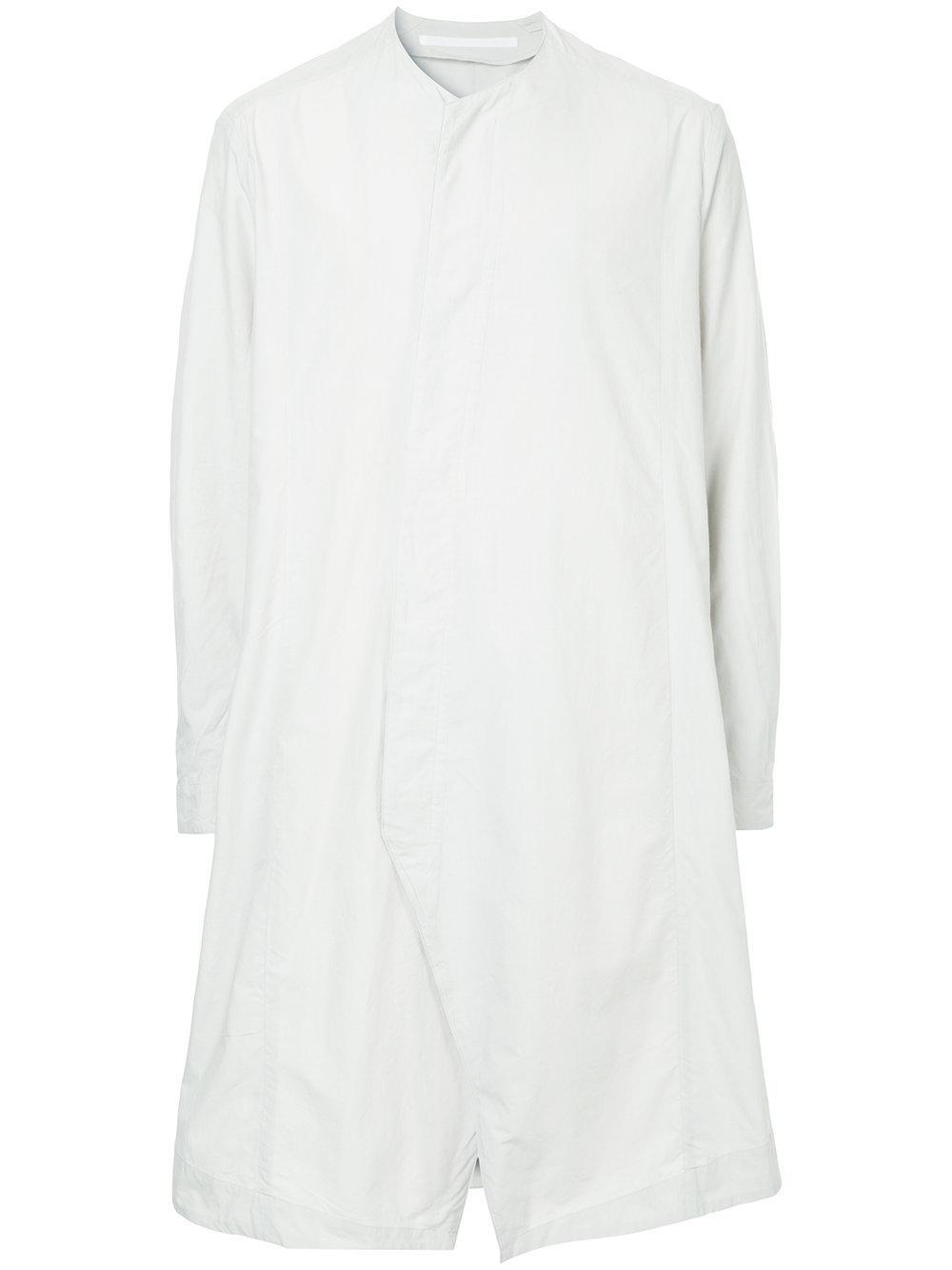 55a819446ab9 Julius Collarless Flared Shirt - White