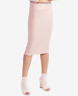 Avec Les Filles Ribbed Pencil Skirt In Dusty Rose