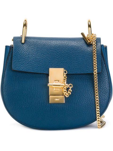 ChloÉ Navy Drew Mini Leather Shoulder Bag In Factory Blue