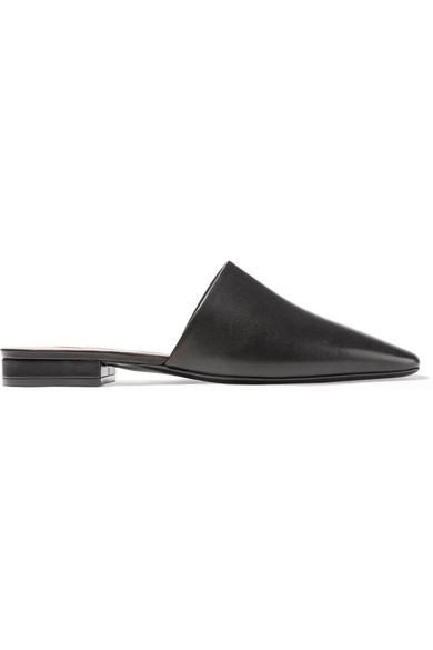 Acne Studios Tessey Leather Backless Loafers In Black