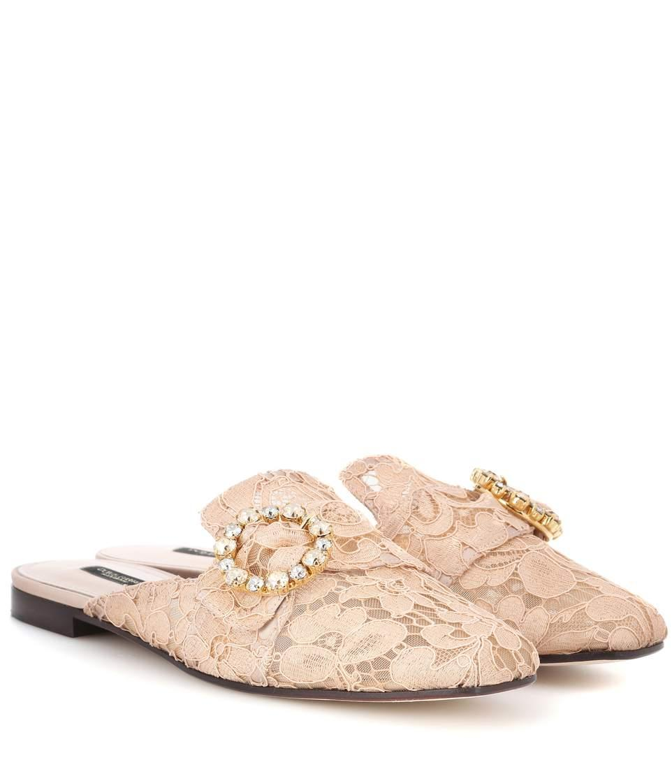 Dolce & Gabbana Jackie Crystal-Embellished Lace Slippers In Pink