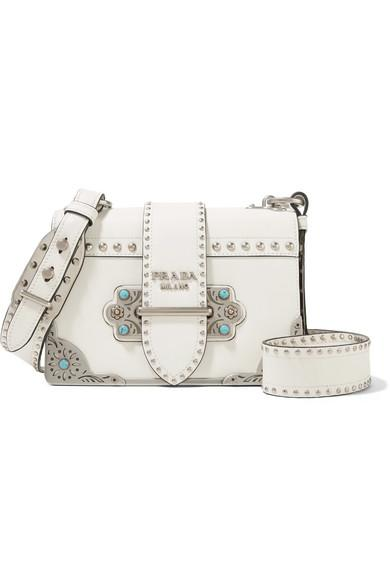 93ba4425a7b5 Prada Cahier Embellished Leather Shoulder Bag In White   ModeSens