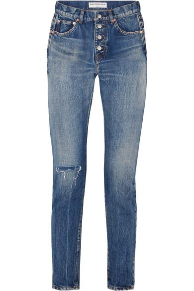 Balenciaga Distressed Mid-Rise Straight-Leg Jeans In Blue