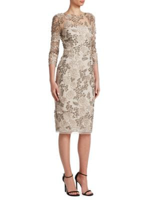 David Meister Floral Cocktail Dress In Silver