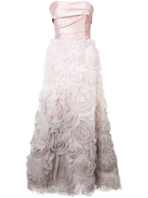 Marchesa Notte Strapless Ombre Textured Midi Tea Gown In Blush