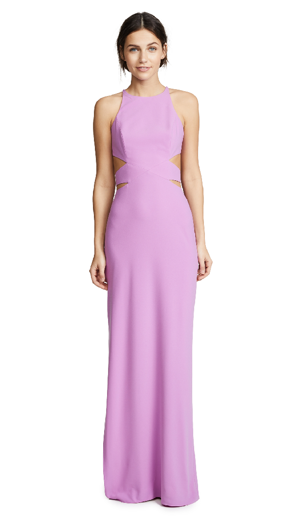 7e48d9cbe26 Halston Heritage High Neck Tie Back Gown In Cattleya Pink