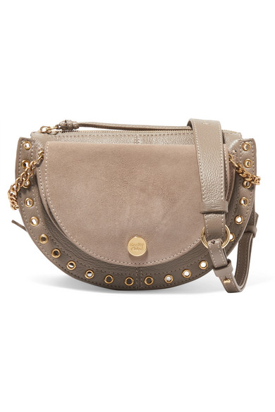 d49db252c3 See By ChloÉ Kriss Small Eyelet-Embellished Textured-Leather And Suede  Shoulder Bag